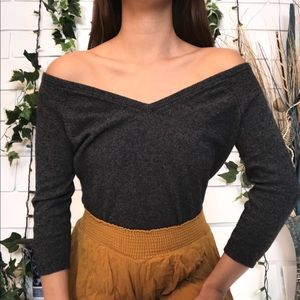 Off Shoulder double v neck knit 3/4 sleeve sweater